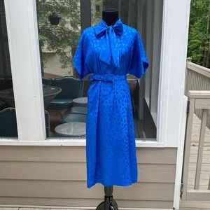 Vintage 80s Pussy Bow Neck Tie Belted Midi Dress